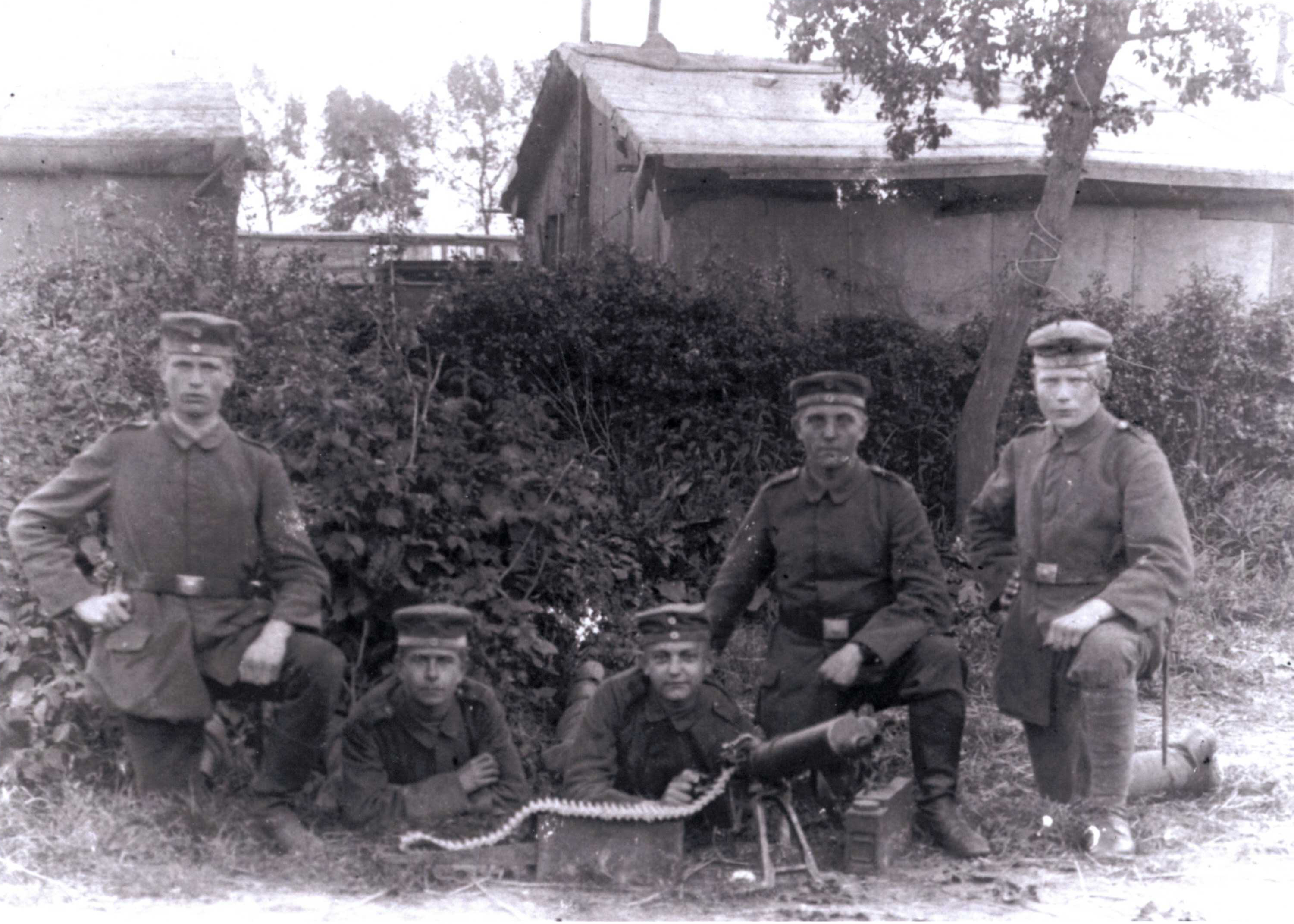 Gustav & his machine gun unit in WWI Germany, second from the left